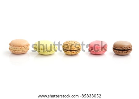 Macarons isolated in white background