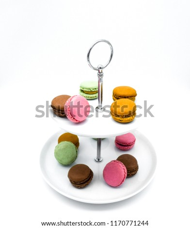 macarons on tier serving trays, etagere, tiered macarons