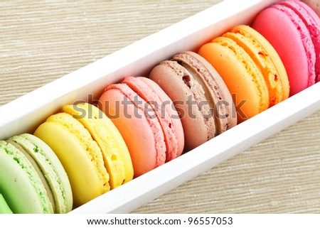 macaroon in paper box