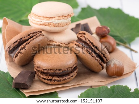 Macaroons with hazelnuts and chocolate - stock photo