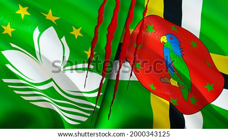 Macau and Dominica flags with scar concept. Waving flag,3D rendering. Macau and Dominica conflict concept. Macau Dominica relations concept. flag of Macau and Dominica crisis,war, attack concept Stockfoto ©
