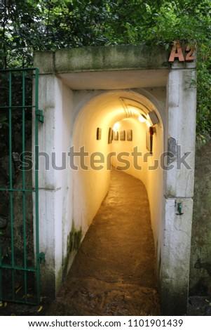 MACAU, CHINA, APRIL 15, 2016: Guia Hill Military Tunnels at Macau #1101901439