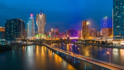 Macau cityscape at night, all hotel and casino are colorful lighten up with night sky, Macau, China.