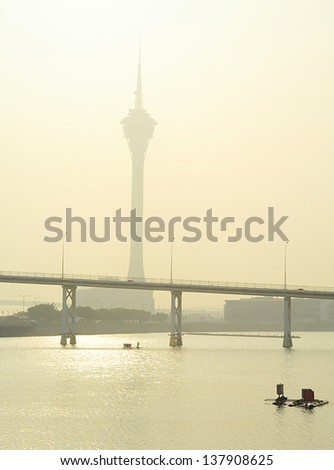 Macau Tower Convention in the morning mist