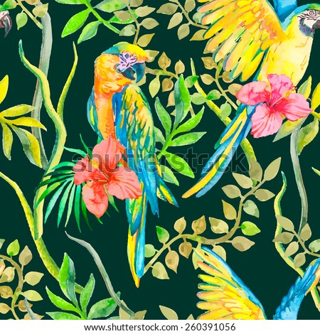 Macaw seamless pattern. Topical flower and leaves, hibiscus. Tropical parrot. Exotic.  for your design.