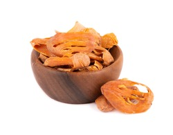 Mace in a wooden bowl, isolated on white background. Nutmeg flower, myristica fragrans. Natural spice, asian seasoning.