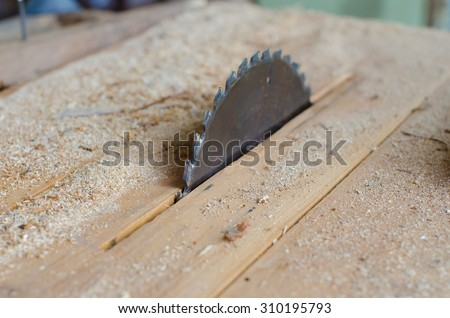 Machine Electronic Table Saw, Sharp Cut Metal Steel Silver in Carpentry Wood Work.