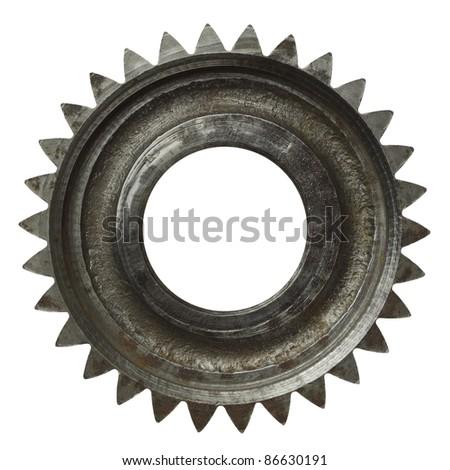 Machine gear, metal cogwheel. Isolated on white.