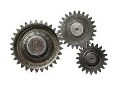 Machine gear, metal cogwheels. Isolated on white.