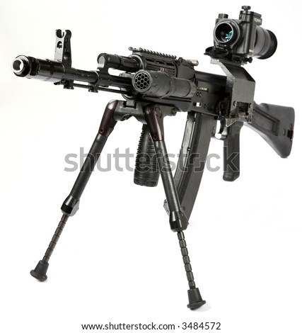 Machine gun Kalashnikov on the tripod and optical sight