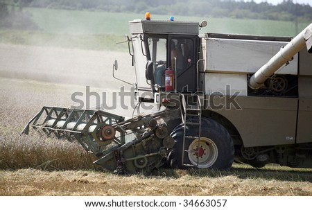 Machine harvesting field of wheat
