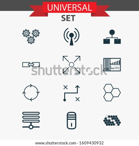 Machine icons set with processor, data cells, loop algorithm and other recurring program elements. Isolated illustration machine icons.