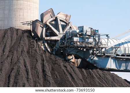 Machine is digging lignite and transporting to power generator plant to produces  the electricity