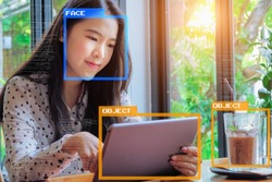 Machine Learning analytics identify person and object technology , Artificial intelligence concept. Software UI analytics and recognition people and object.