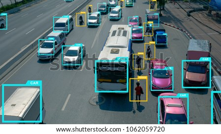 Machine learning analytics identify technology , Artificial intelligence Software ui analytics recognition cars vehicles and person.