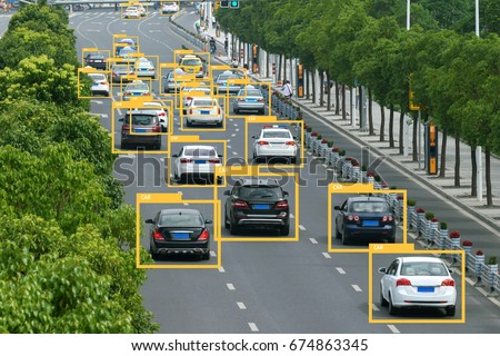 Machine learning analytics identify vehicles technology , Artificial intelligence concept. Software ui analytics and recognition cars vehicles in city.