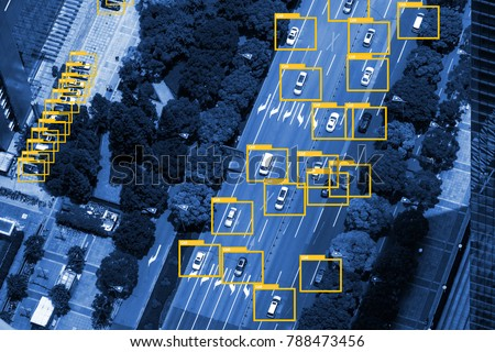 Machine learning analytics identify vehicles technology , Artificial intelligence concept. Software ui analytics and recognition cars vehicles in city. Bird eye view and blue tone image. #788473456