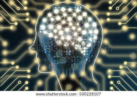 Machine learning and artificial intelligence concept. Brain connection learning on light bulb and Electric circuits graphic