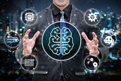 Machine learning and artificial intelligence concept. Man business suit , Electric circuit graphic and info graphic of Brain chip sets , command , binary coded , robotic arm icons.