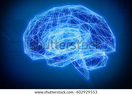 Machine learning , artificial intelligence , ai , deep learning and future concept. Wireframe Brain connect with circuit electronic graphic and binary code abstract background.Blue tone