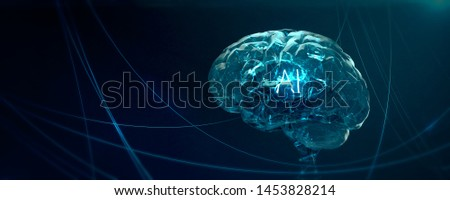 Machine learning , artificial intelligence , ai, quantum computer deep learning blockchain neural network concept. translucent brain with shining wireframe in abstract cyberspace 3d render