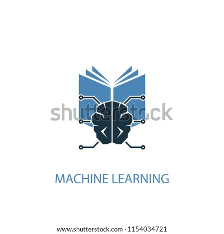 Machine learning concept 2 colored icon. Simple blue element illustration. Machine learning concept symbol design from Artificial Intelligence set. Can be used for web and mobile UI/UX