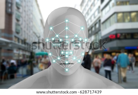 Machine learning systems , accurate facial recognition biometric technology and artificial intelligence concept. 3D Rendering of Man face and dots connect on face with blur city background. #628717439