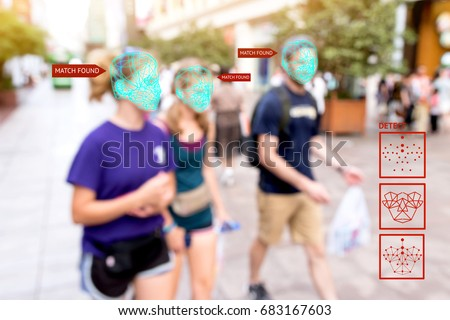 Machine learning systems , artificial intelligence (ai) and accurate facial recognition detection technology concept. Blur people with search match found application. #683167603