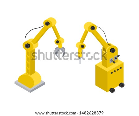 Machinery automatic tool helping production to create new items quickly yellow automated industrial machines raster illustration isolated on white