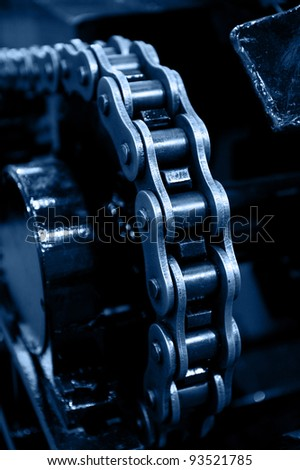 machinery powered by chain gear.