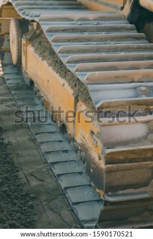 Machinery yellow tracks digger equipment