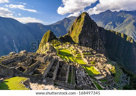 Machu Picchu, a Peruvian Historical Sanctuary in 1981 and a UNESCO World Heritage Site in 1983. One of the New Seven Wonders of the World Stockfoto ©