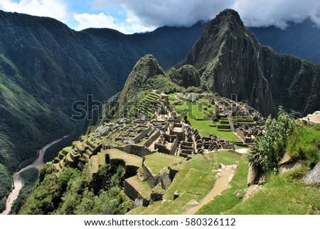 Machu Picchu in the Urbamba province and Cusco region, Peru