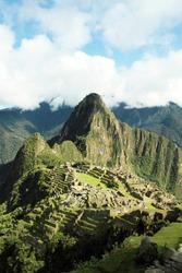 Machu Picchu the lost city of the Incas.View of the ancient Inca City of Machu Picchu. The 15-th century Inca site. Lost city of the Incas. Ruins of the Machu Picchu sanctuary. UNESCO World Heritage