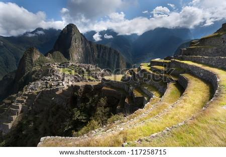 Machu pichu, Peru, panoramic view of the ruins at the morning.