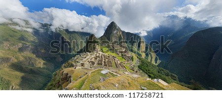 Machu pichu, Peru, panoramic view of the ruins at the morning.