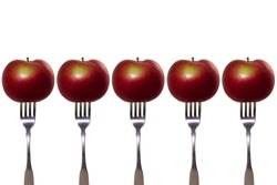 Macintosh apples on forks!  An apple a day keep the doctor away