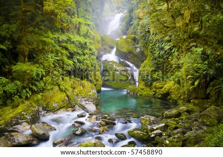 Mackay Falls waterfall lush setting on the Milford Track, New Zealand. Time lapse waterfall - stock photo