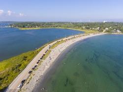 Mackeral Cove Beach and Dutch Island Harbor at Narragansett Bay aerial view in summer, Jamestown, Rhode Island RI, USA.