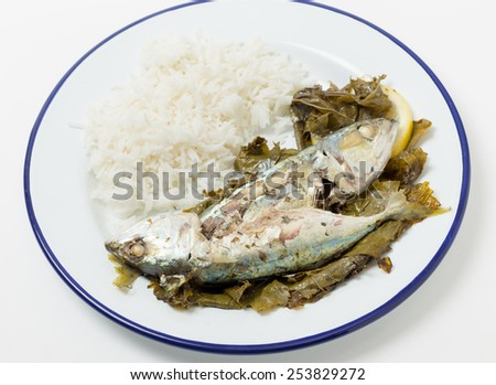 Mackerel baked in vine leaves, with olive oil, lemon and oregano, a traditional Greek dish with small mackerel or sardines, served with rice