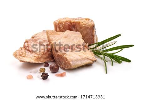 Mackerel fillet, preserved fish fillet, isolated on white background.