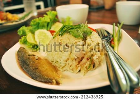 Mackerel fried rice , Thai food #212436925