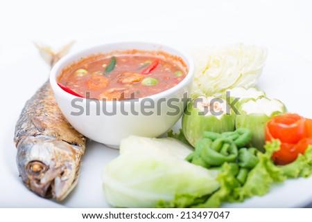 Mackerel , nam phik krapi Thailand location food with shrimp paste and vegetable
