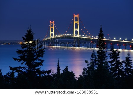 Mackinac Bridge under moonlight taken from Straits State Park.