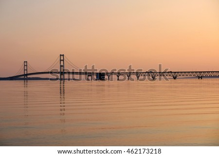 Mackinac suspension bridge at sunrise, built in 1957, Michigan, USA #462173218