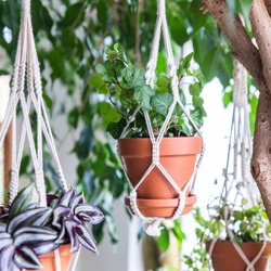 Macrame hanging basket made of cotton cord - Urban Jungle Trend - Houseplant decoration