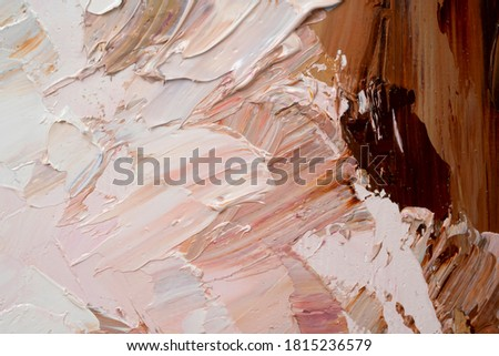 Macro. Abstract art. Expressive embossed pasty oil paints and reliefs. Colors:  white, brown, pink. Photo stock ©