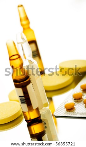 macro ampoule and pills shot