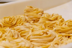 Macro and close up on freshly hand made plain floury pasta. Italian type of linguine, fettuccine or tagliatelle are formed in rolls ready to cook. Center focus and shallow depth of field