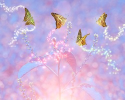 macro art of butterfly with sparkle